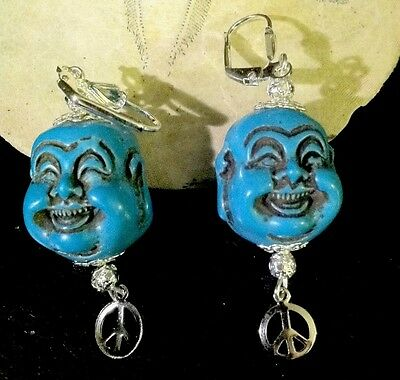 Zetroc Happy Buddha Real Vintage Molded Earrings Rare