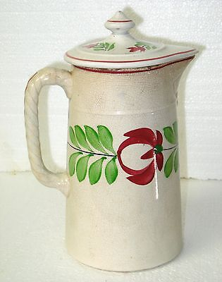 ANTIQUE ADAMS ROSE STAFFORDSHIRE PITCHER AND LID - 19th C
