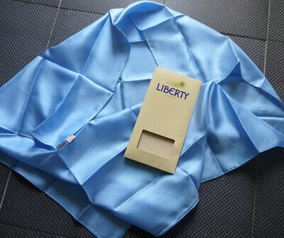 Vintage Silk Scarf by Liberty Plain Sky Blue