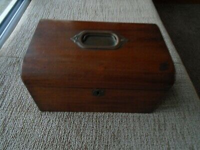 Antique Mahogany Wood  Sewing Box  Jewellery Desk Top Stationery Storage 1902