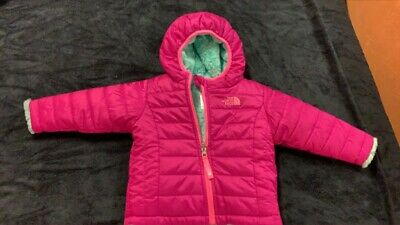 The North Face Kids Girls Fashion Reversible Black Fur Puffer Coat Jacket Size 1