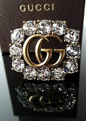 1c596bfeb AUTH GUCCI GG Logo Goldtone Crystal Brooch Pin - $306.57   PicClick