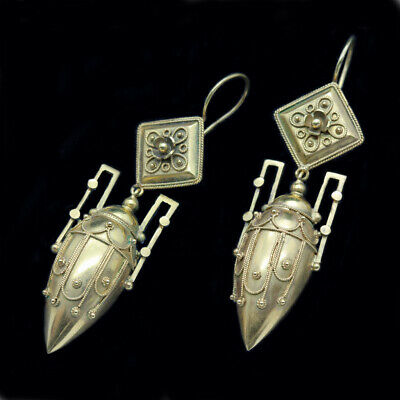 Etruscan Revival Earrings 15CT Gold English Victorian Ear Pendants (6363)