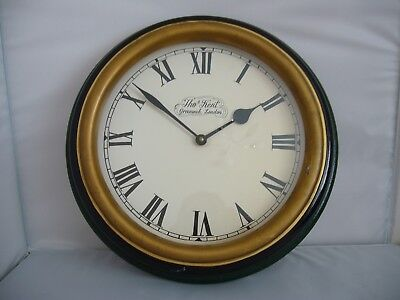 "Vintage Thomas Kent Large Wall Clock ""Greenwich London"" Made in England"
