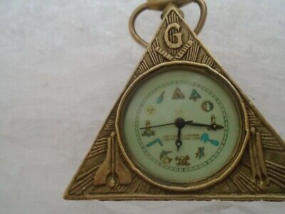 RARE vintage/antique Masonic brass triangle pocket watch clock   17 Jewels  LOOK