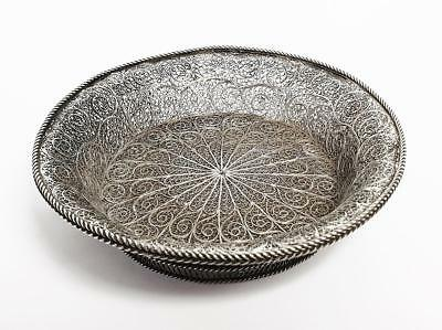 19th Century FINE CONTINENTAL SILVER FILIGREE DISH