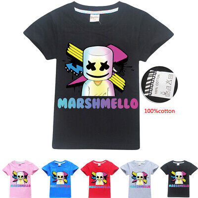 Cool DJ Marshmello Mask Music T-Shirt Kids Boys Casual Tee Tops Clothes
