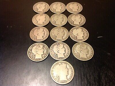 (13) Barber Silver Half Dollar Lot