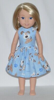 Light Blue Dog Doll Dress Clothes Fits American Girl Wellie Wisher Dolls