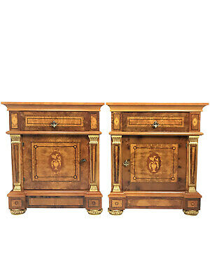 20th Century English Style Nightstand With Floral Marquetry- a Pair
