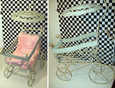 "28x20x11"" Metal & Wicker Baby Doll Carriage with Umbrella Cover 4 Wheels Good Cd"