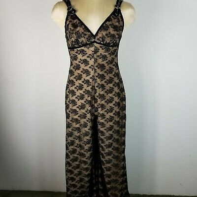 Vintage 60s Glydons Hollywood Sheer Black Nude Lace Gown Loungewear Jumpsuit S