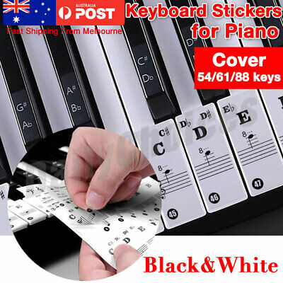Music Keyboard Piano Stickers 88/61/54 Key removable white Laminted stickers
