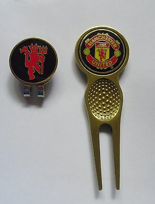 2 ONLY MAN. UTD OFFICIAL GOLF BALL MARKERS + A QUALITY DIVOT TOOL & hat clip