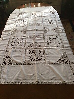 ANTIQUE Vintage Linen Cotton White  Crochet  Lace TABLECLOTH  Cutwork Cherubs