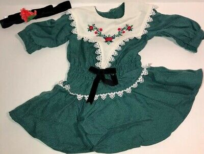American Girl Doll Ruthie -- Green  Christmas Dress & Hair Tie / Band