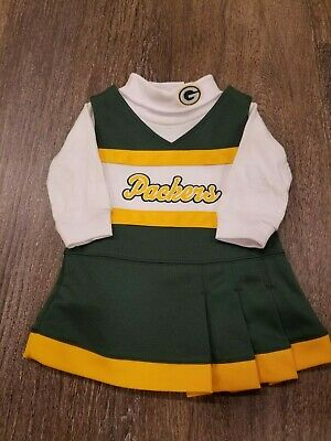 eab14dfa INFANT/BABY GIRLS GREEN Bay Packers 0/3 Months Cheerleader Cheer Outfit  Dress