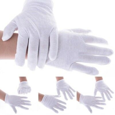 White Thin Reusable Elastic Soft 100% Cotton Work Gloves Hand Spa Builder Driver