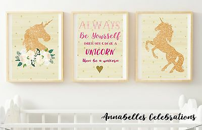 Set of 3 Gold Glitter Unicorn Print - Peach Girls Bedroom Nursery Wall Decor Art