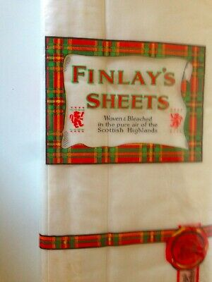 Vintage Sheets Finlay's Scotland Linen Single Bed Set Pure Cotton Antique