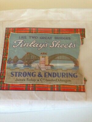 Vintage Sheets Finlay's Scotland Linen Double Bed Set Pure Cotton Antique