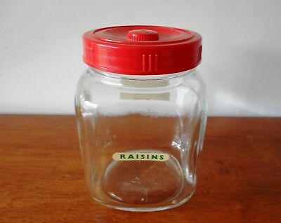 Vintage Retro Square Glass Jar With Red Plastic Screw On Lid 15.5cm x 11cm
