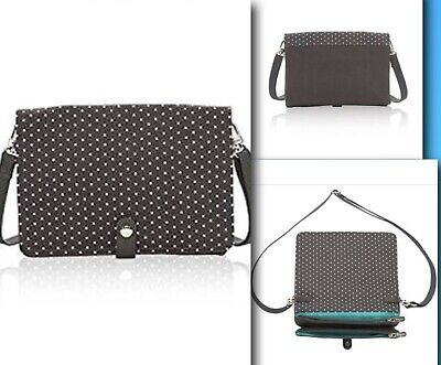 Thirty One Double Up Crossbody Purse City Charcoal Swiss Dot