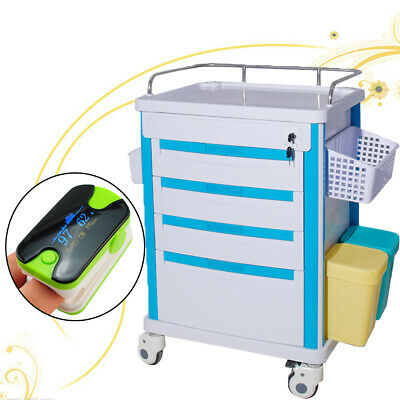 Lap Medical Giving medicine Rolling Trolley Movable Operating Room Cart+oximeter