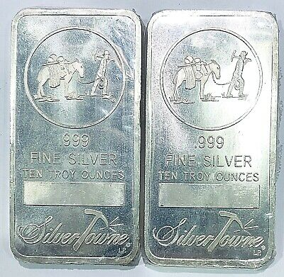 10 oz SilverTowne Logo 10 oz .999 Fine Silver Bar Ten Troy Ounces In Org Plastic