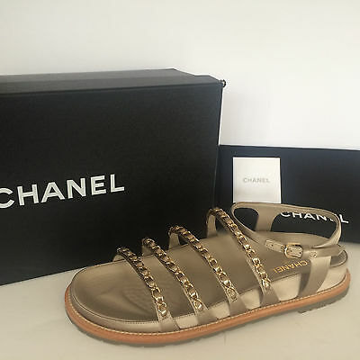 2876397c1d62 CHANEL Beige Strappy Satin Flat Sandals w Chain Embellished Shoes  1150 New!