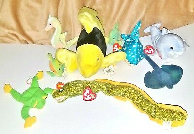 RETIRED Lot TY Beanie Babies 9 UNDER THE SEA (Most) With Tags Rare Original 90s