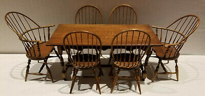 Ed Ted Norton Dollhouse Miniature Windsor 6pc Set Chairs '92 Roger Gutheil Table