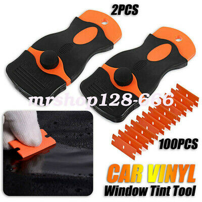 100X Double Edged Razor Blades+2pcs Scraper Removal Tool For Car SUV Truck Set