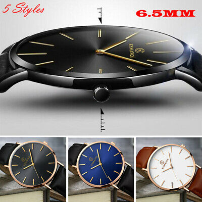 6.5MM Men's Quartz Wrist Watches Leather Watch Strap Analog Slim Date Casual NEW