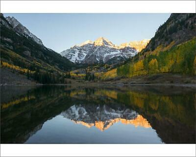 "18415525 10""x8"" (25x20cm) Print Full reflection of Maroon bells a..."