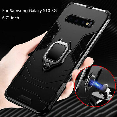 For Samsung Galaxy S10 Plus S10 Case Luxury Heavy Duty Hybrid Rubber Stand Cover