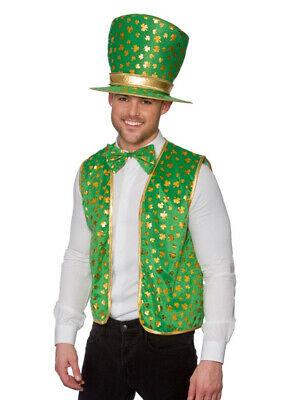 St Patricks Day Fancy Dress Irish Leprechaun Hat Waistcoat & Bowtie Kit Adult