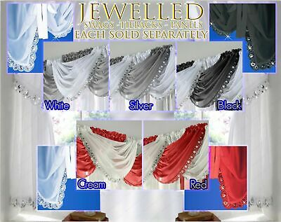 JEWELLED Swag Crystal Sparkle Glitter Voile Net Readymade Pelmet Curtain Swags