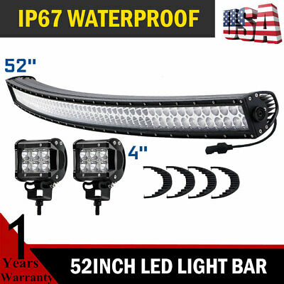 52inch 700W LED Light Bar Curved Flood Spot Roof Driving 4x4 Truck SUV ATV 54''
