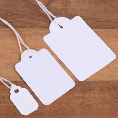 SMALL - LARGE WHITE TAGS + FREE STRING Craft Gift Present Tags Labels Christmas
