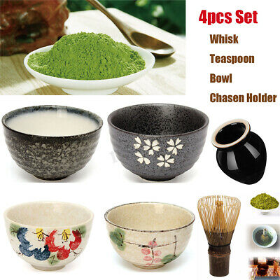 4 in 1 Matcha Powder Bamboo Chasen Whisk/ Teascoop/ Ceramic Bowl Tea Ceremony AU