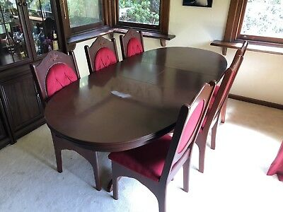 Antique Dining Table and Chairs Set (Extendable)