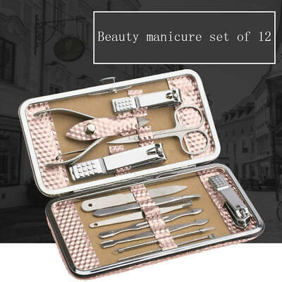 12PCS Pedicure/Manicure Set Nail Clippers Cleaner Cuticle Grooming Kit Case WRQ