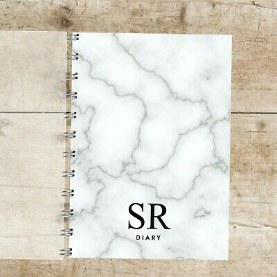 Personalised Diary Marble Initials, Black Grey Choice of Month Start, 12 months