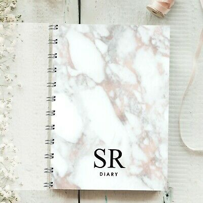 Personalised Diary Marble, Plain Font, Rose Gold Any Month Start 12 months