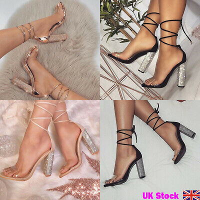 a7827180fe1 UK Women Clear Strap Shoes Strappy Tie Up Crystal Block High Heels Sandals  Party