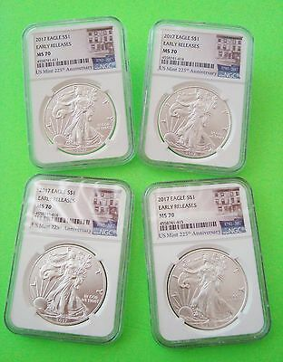 Four 2017 SILVER EAGLE NGC MS70 EARLY RELEASES 225th ANNIVERSARY LABEL 1oz Coins
