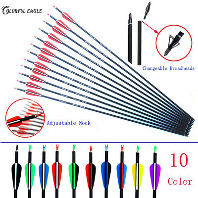Carbon Arrow Replaceable Arrowhead Archery for Compound/Recurve Bow Hunting