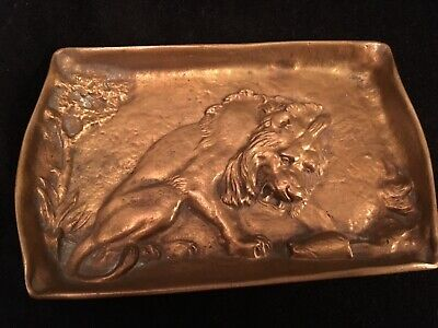 Antique Copper (Art Nouveau) Lion Tray / Card Receiver Jno. Williams Inc NY
