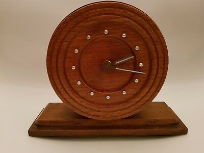 Vintage Wooden Mantle Clock Dark Oak